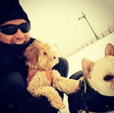 Hugh Jackman posta imagem com seus cães para provar que sobreviveu a nevasca >> http://glo.bo/1BnNWbq