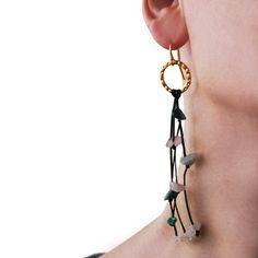 Handmade long earrings made of brass or sterling silver with gemstones Boho Earrings, Gemstone Earrings, Statement Earrings, Drop Earrings, Bohemian Style Jewelry, Silver Jewelry, Brass, Gemstones, Sterling Silver