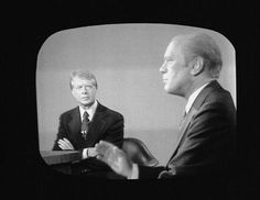 1976 ELECTION - Screen capture shows the Second Presidential Debate between American President Gerald Ford and challenger Governor Jimmy Carter of Georgia in San Francisco.  -- October 6, 1976