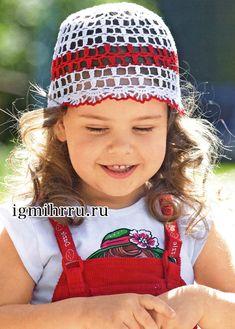 Летняя ажурная шапочка для девочки. Вязание крючком