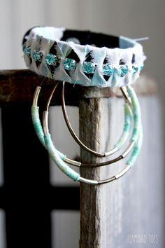 Leather and Rhinestone Wrapped Bracelet