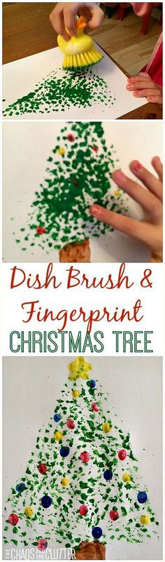 Dish Brush and Fingerprint Painted Christmas Tree - so cute!