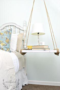 hanging nightstand DIY bedside storage, The Weathered Fox