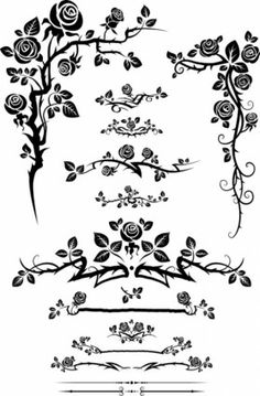flowers silhouette lace 01 vector