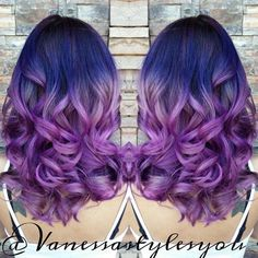 Nice red purple ombre hair color with  beautiful waves, for dark hair to dye purple (from HOT Beauty Magazine)
