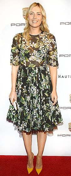 'Tis the season for florals! The tennis pro looked delightful in a green floral dress with mustard-hued pointy-toe pumps.