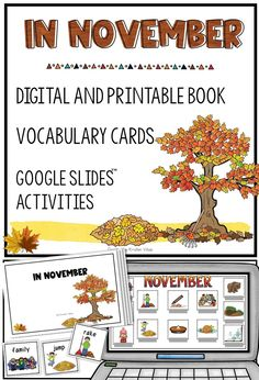 """In November"" is a fun and engaging resource for building monthly themed vocabuarly and reading skills with primary students and beginning English learners. Print and digital (Google Slides) books, vocabulary and writing activity included. Perfect for distance learning! #ESLclassroom #ESLteacher #elementaryclassroom #monthlythemedvocabulary #digitalbook #Googleslides Reading Words, Reading Skills, Post Reading Activities, Books For Beginning Readers, Multiple Meaning Words, Nouns And Verbs, Dictionary Words, English Language Learners, Vocabulary Cards"