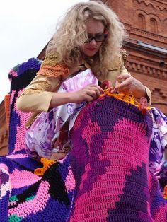 Olek the international crochet artist finishes a project in public art