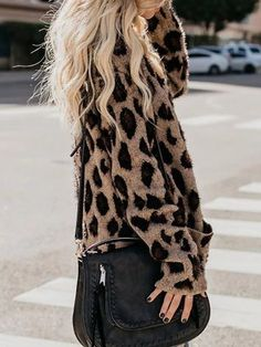 Shopping Collarless Flap Pocket Leopard Printed Outerwear online with high-quality and best prices Outerwear at Luvyle. Leopard Print Cardigan, Chunky Cardigan, Sweater Cardigan, Fall Sweaters, Cardigans For Women, Casual, Fashion Outfits, Women's Fashion, Feminine Fashion