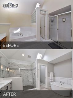 Sarah & Ray's Master Bathroom Before & After Pictures Naperville Master Bathroom Before and After Pictures – Sebring Design Build Bathroom Renos, Bathroom Renovations, Home Renovation, Master Bathroom, Bathroom Makeovers, Small Bathroom, Budget Bathroom, Decorating Bathrooms, Bathroom Ideas
