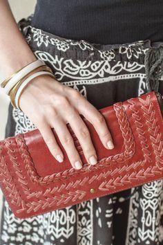 handstitch leather clutch wallet