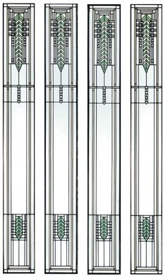 """Giannini & Hilgart (1899-Present) - Orlando Giannini (1860-1928) & Fritz Hilgart (1869-1942) - Two Pairs of Leaded Glass Light Screen Panels. Clear & Coloured Glass and Lead Came. Designed & Executed for Brinsmaid House, Des Moines, Iowa. Chicago, Illinois. Circa 1902. Each Panel: 74"""" x 9""""."""