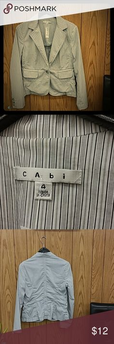 Cabi Blazer in white/gray stripes size 4 One button closure, 70% cotton, 27% nylon 3% spandex. CAbi Jackets & Coats Blazers