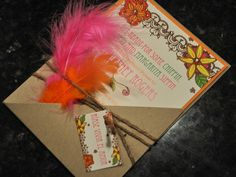 Mexico Shower Invitation: Tropical Invitation with Feathers and flair