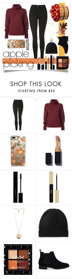 """""""Apple Picking"""" by xxkaitlyn on Polyvore featuring Topshop, BY. Bonnie Young, Casetify, Gucci, Yves Saint Laurent, Givenchy, Madeleine Thompson, TOMS and Anne Klein"""