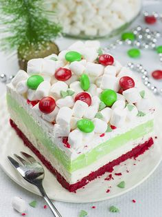 Christmas Lasagna is whimsical layered dessert with buttery red velvet shortbread cookie crust, peppermint cheesecake layer, white chocolate pudding, whipped cream and mini marshmallows on top. Dessert by Oh My Goodness Chocolate Desserts New Year's Desserts, Layered Desserts, Holiday Desserts, Holiday Baking, Chocolate Desserts, Holiday Treats, Christmas Baking, Holiday Recipes, Delicious Desserts