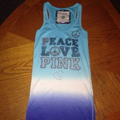 VS PINK tank top Baby blue, white, and royal blue VS PINK tank top. Size medium. Good condition. Letters have slight fade as shown in picture above but looks good.no stains or rips. PINK Victoria's Secret Tops Tank Tops