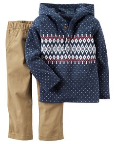 He's set for playground adventures on chilly days in this cozy hooded top and khaki pant set.