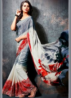 Buy online women fashion sarees online in various styles, designs, colors and fabrics. Order this faux georgette multi colour printed saree for casual.
