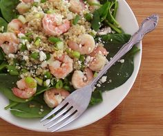 Warm Shrimp, Quinoa & Spinach Salad