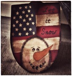 Americana vintage snowman shovel