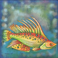 Funky+Fish+2++PRINT+by+BijousWhimsy+on+Etsy