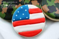 American Flag and Camo Cookies by @SweetSugarBelle {Callye Alvarado}