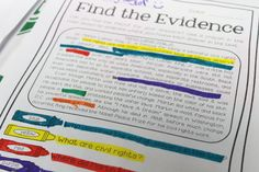 Help your students find text evidence to prove their answers in a fun way by color-coding! Teaching organization as well Reading Lessons, Reading Strategies, Reading Activities, Reading Skills, Teaching Reading, Reading Comprehension, Guided Reading, Middle School Reading, 5th Grade Reading