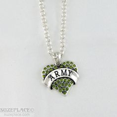 NEW ARMY GREEN RHINESTONE HEART CHARM SILVER NECKLACE MILITARY SOLDIER  #ArmyStrong #USMilitary  www.SuzePlace.com
