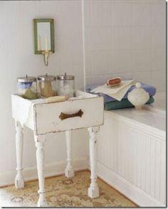 repurposed drawers table