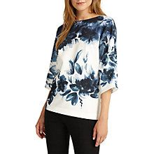 Buy Phase Eight Winter Garden Floral Boat Neck Three Quarter Sleeve Blouse, Ink/Ivory Online at johnlewis.com