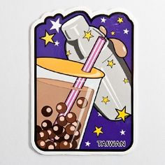 Taiwan Pearl Milk Tea Post Card Bubble Tea, Milk Tea, Taiwan, Bubbles, Artsy, Phone Cases, Post Card, Commercial, Pearl
