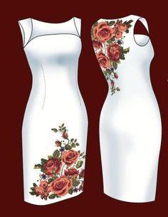 Rich flower patterns for elegant dresses at… Elegant Dresses, Nice Dresses, Casual Dresses, Fashion Dresses, Jw Mode, Mexican Dresses, Embroidered Clothes, Embroidery Dress, Embroidery Patterns