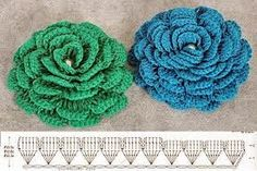 A simple diagram of a lush flower crochet. Crochet wide variety of colors. Free chart of knitting by a lush flower crochet. Crochet Gratis, Crochet Diy, Love Crochet, Irish Crochet, Double Crochet, Crochet Ideas, Crochet Diagram, Crochet Chart, Crochet Motif