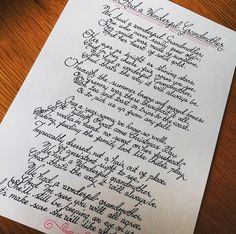 A poem for a loved one in unflourished Handwriting Examples, Handwriting Styles, Nice Handwriting, Beautiful Handwriting, Calligraphy Handwriting, Calligraphy Letters, Penmanship, Caligraphy, Handwritten Letters
