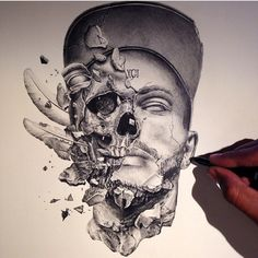 """""""So Rad Found this on a site but the artist wasn't credited(kik arts_help or comment below if you know the artist) _ Also check out our art featuring…"""" Tattoo Sketches, Tattoo Drawings, Art Sketches, Art Drawings, Skull Tattoos, Sleeve Tattoos, Creation Art, Arte Sketchbook, Desenho Tattoo"""