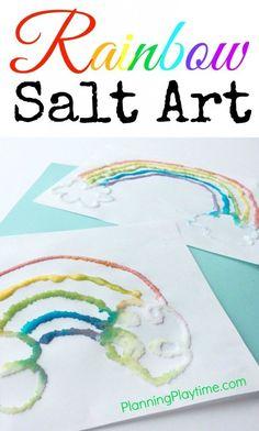 Rainbow Salt Art Project for Kids