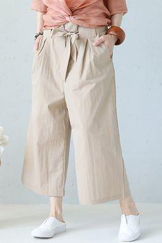 Plus Size Drawstring Wide Leg Cotton Pants Women Casual Trousers Q1159