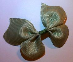 Olive Green Satin Ribbon Butterfly Hair Clip | Jenstardesigns - Accessories on ArtFire