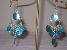 blue shell chandelier earrings hand made #Handmade #Chandelier