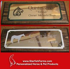 BRASS & WOOD HORSE STALL SIGNS Specializing in Engraved Graphics ~ 75 to choose from. http://www.starfishfarms.com/horse/stallplates/woodsigns/index.html