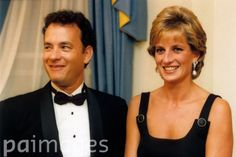 Princess Diana and Tom Hanks in 1995. (He and Steven Spielberg also attended her funeral.)  <3