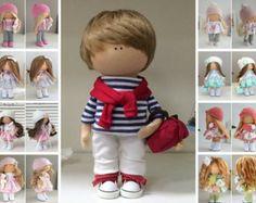 Boy doll Handmade doll Fabric doll Textile doll Muñecas Tilda
