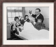 Harry Houdini and His Rabbit Entertain Five Hospitalized Children 1925