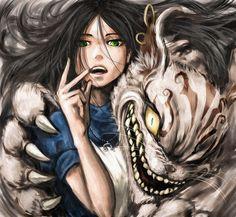 American McGee @Zerochan .net   Alice in Wonderland   Alice and Cheshire Cat