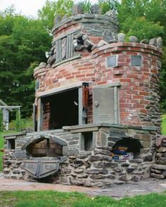Brick garden/outdoor fireplace with grill and smoker. My dream ...