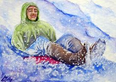 Winter Snow Sled ACEO ORIGINAL Watercolor Painting Christmas Child Boy Girl Teen #Realism