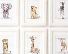 Safari Nursery Print set of Nursery decor, Safari animals African Baby Animal Prints, Giclee, African Animal Art, Safari Nursery Art