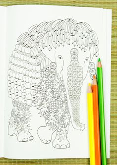 Elephant - one of the pages of the Colouring Fauna - Adult Animal Colouring Book