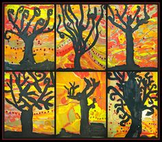 Fall trees: love the black silhouette and warm lines expressing movement in the background!